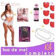 Kit Sensual Lua De Mel Fantasia + Pétalas de Rosas + Vela + Virginity + Óleo p/ massagem e colar de perolas
