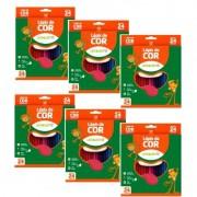 6 Caixas de Lapis De Cor 24 Cores Formato Sextavado Leo e Leo Atacado