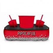 Almofada Porta Pipoca e Copos Pipocaflix Presente Brasfoot