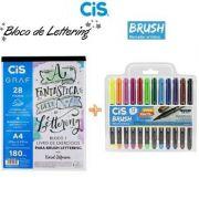 Bloco Livro De Exercícios Para Brush Lettering  + Caneta Brush 12 cores Cis