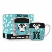 Caneca Porcelana Urban 360ml - A Vida é Melhor com Meu Dog Brasfoot