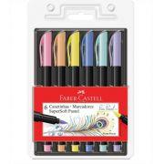 Caneta Pincel Brush Pen Pastel 6 Cores SuperSoft Faber Castell