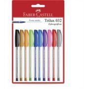 Caneta Esferográfica 1.0mm Trilux 10 cores Faber Castell