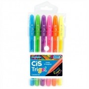 Caneta Gel 1.0mm Trigel 6 Cores Neon Cis