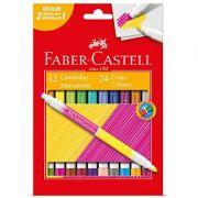 Caneta Hidrocor Bicolor c/ 12 Unidades com 24 Cores Faber Castell