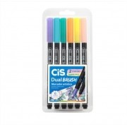 Caneta Pincel Aquarelável Pastel Dual Brush Pen Ponta Dupla 6 Cores Cis