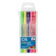 Caneta Pop Gel Neon Estojo com 5 Cores Cis
