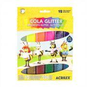 Cola Colorida com Glitter 3 CX com 12 cores cada Acrilex Atacado