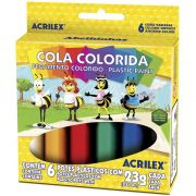 Cola Colorida Escolar 6 cores Vivas Acrilex