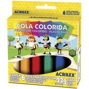 Cola Colorida Escolar Pac com 10 Caixas Acrilex Atacado