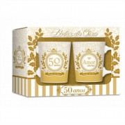 Conjunto 2 Canecas de Porcelana Bodas de Ouro 50 Anos Brasfoot
