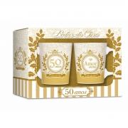 Conjunto 2 Canecas de Porcelana Premium Bodas de Ouro 50 Anos Brasfoot