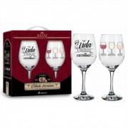 Conjunto 2 Taça de Vinho na Caixa A Vida é Feita de Escolhas Presente Brasfoot