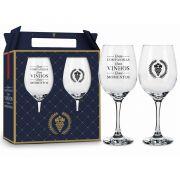 Conjunto 2 Taça de Vinho na Caixa Boas Companhias Presente Brasfoot