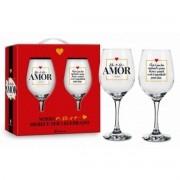 Conjunto 2 Taça de Vinho na Caixa - Meu Amor Dia Especial Presente Namorados Brasfoot