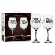 Conjunto 2 Taça de Vinho na Caixa Receita Para Uma vida Feliz Brasfoot