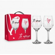 Conjunto 2 Taça de Vinho na Caixa Te Amo Com Todo Meu Coração Presente Brasfoot