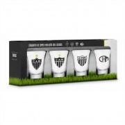 Conjunto 4 Copos Dose Atlético Mineiro Galo Evolução dos Escudos Brasfoot