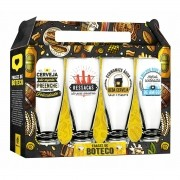 Conjunto 4 Copos Munich Cerveja Frases de Buteco 200ml Brasfoot