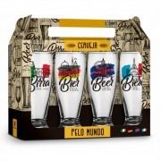 Conjunto 4 Copos Munich Cerveja Pelo Mundo 200ml Brasfoot