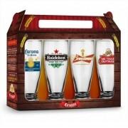 Conjunto 4 Copos Munich Sátiras Cervejas Internacionais 200ml Brasfoot