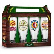 Conjunto 4 Copos Munich Sátiras Cervejas Nacionais 200ml Brasfoot