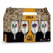 Conjunto 4 Taças Windsor Cervejas Pelo Mundo Presente Brasfoot