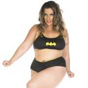 Fantasia Plus Size Heroína Bat Girl Short Pimenta Sexy
