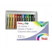 Giz de Cera Pastel Oleoso Estojo Com 12 cores Pentel