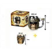 Kit Caneca de Chopp Crânio Caveira Armadura Medieval + Copo Dose Brasfoot