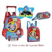 Kit Escolar Luccas Neto Mochila com Rodinha Lancheira e Estojo Clio