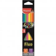 Lápis De Cor Color Peps Fluo 6 Cores Fluorescentes Neon Maped