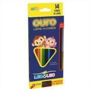 Lápis De Cor Ouro 14 Cores + Apontador + Lápis Bicolor Leo e Leo