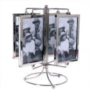 Porta Retrato 10x15cm Carrossel Metal 8 Fotos Vertical Importado