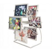 Porta Retrato 10x15cm Roda Giratória 12 Fotos Horizontal Metal Master