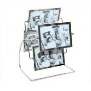Porta Retrato 10x15cm Roda Giratória 8 Fotos Horizontal Metal Mater