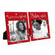 Porta Retrato Duplo Foto 10x10cm - Adoro Você Presente Namorados Brasfoot