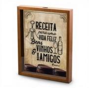 Quadro Decorativo Porta Rolhas Vinho - Receita Para Uma Vida Feliz 30x20cm Brasfoot