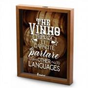 Quadro Decorativo Porta Rolhas Vinho - The Vinho Triplica 30x20cm Brasfoot