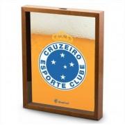 Quadro Decorativo Porta Tampinha Cerveja Escudo Cruzeiro 40x30cm Brasfoot