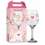 Taça de Vinho na Caixa Mãe Te Amo de Coração Presente Brasfoot
