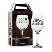 Taça de Vinho na Caixa Receita Para Uma Vida Feliz Presente Brasfoot