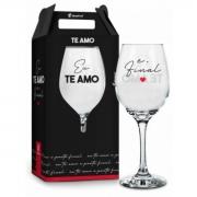 Taça de Vinho na Caixa Te Amo e Ponto Final Presente Namorados Brasfoot