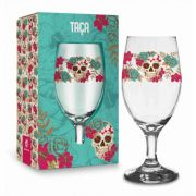 Taça Windsor 330ml - Caveira Flowers Presente Brasfoot