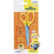 Tesoura Escolar Minions com Protetor Blister Molin do Brasil
