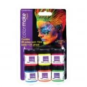 Tinta Líquida Fluorescente 6 Cores Cítricas Neon Facial Colormake