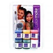 Tinta Líquida Pintura Facial 6 Cores + Glitter + Pincel Colormake