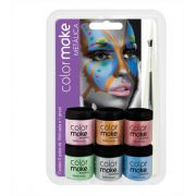 Tinta Pintura Facial Metalica 6 potes + Pincel Colormake