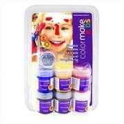 Tinta Pintura Facial Infantil Kids 6 Cores + Glitter + Pincel Colormake