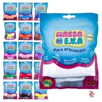 Massa Eva Lisa Artesanato Foamy 50g kit com 30 unidades Make Mais
